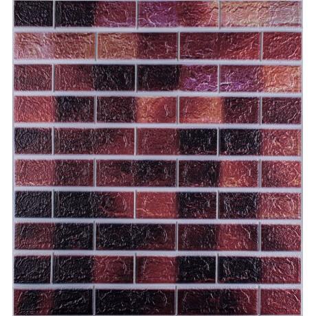 Самоклеющаяся декоративная 3D панель под кирпич розовый микс
