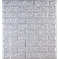 Самоклеющаяся декоративная 3D панель под кирпич серебро 700x770x7мм